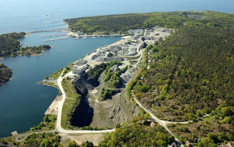 Flygbild över Stärnö gamla stenbrott